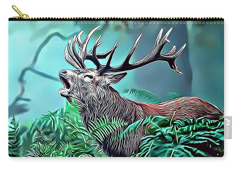 Stag Carry-all Pouch featuring the digital art Stag by Russ Carts