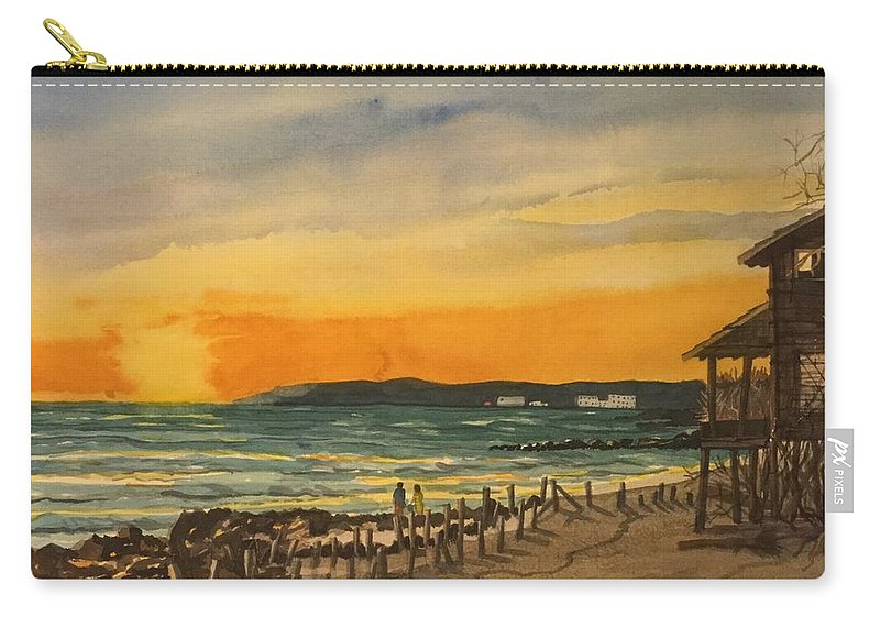 Bradenton Beach Carry-all Pouch featuring the painting Sunset On Bradenton Beach, Fl. by Mike King