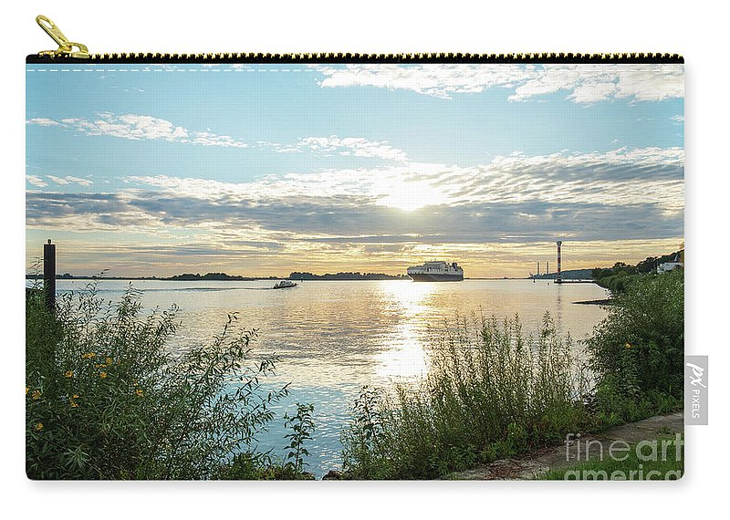 Sunset Carry-all Pouch featuring the photograph Sunset On The Elbe by Marina Usmanskaya