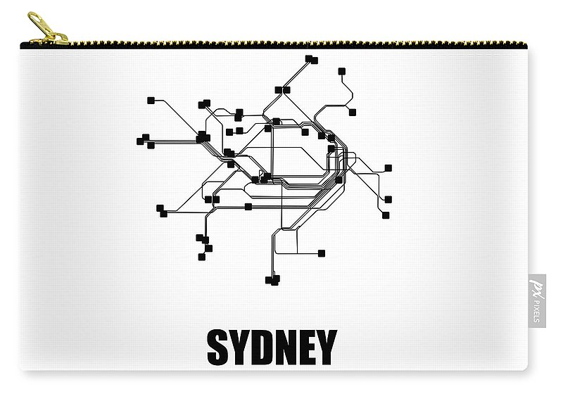 Sydney Carry-all Pouch featuring the digital art Sydney White Subway Map 1 by Naxart Studio