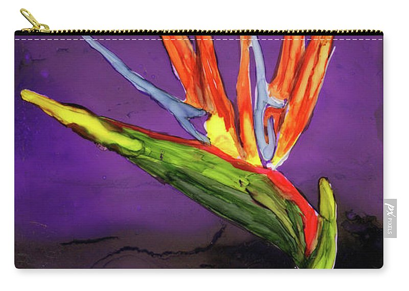 Floral Carry-all Pouch featuring the painting The Bird by Diane Maley