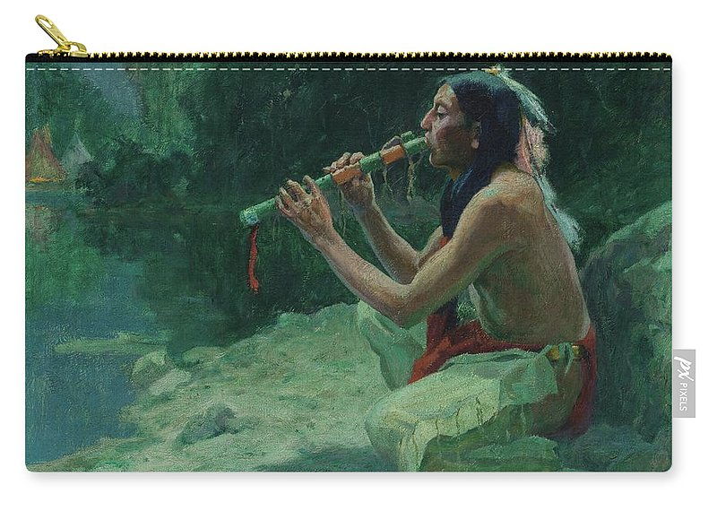 Eanger Irving Couse Carry-all Pouch featuring the painting The Call Of The Flute by Eanger Irving Couse