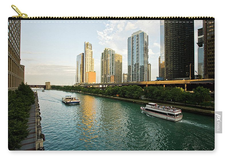 Chicago River Carry-all Pouch featuring the photograph The Chicago River Runs In A Skyscrapers by Maremagnum