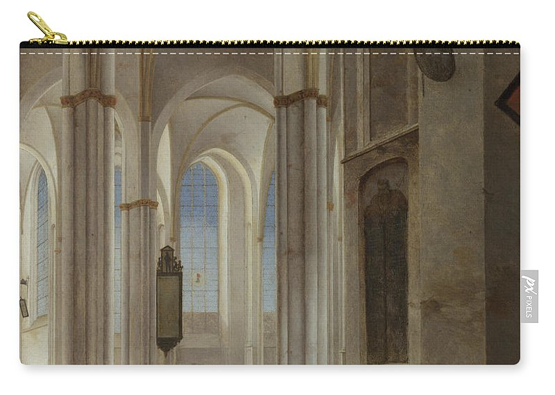 Pieter Saenredam Carry-all Pouch featuring the painting The Interior Of The Buurkerk At Utrecht by Pieter Saenredam