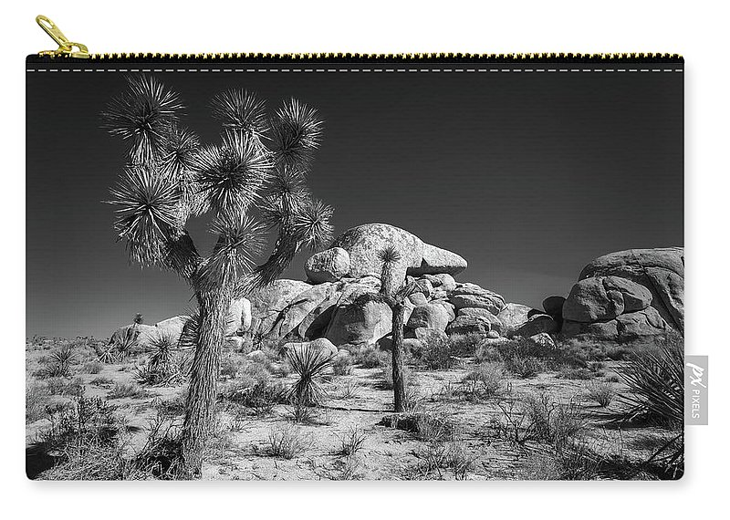 Black & White Carry-all Pouch featuring the photograph The Joshua Tree by Peter Tellone
