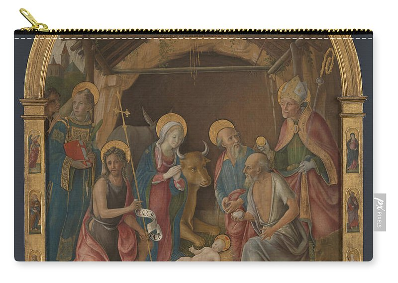 Pietro Orioli Carry-all Pouch featuring the painting The Nativity With Saints Altarpiece by Pietro Orioli