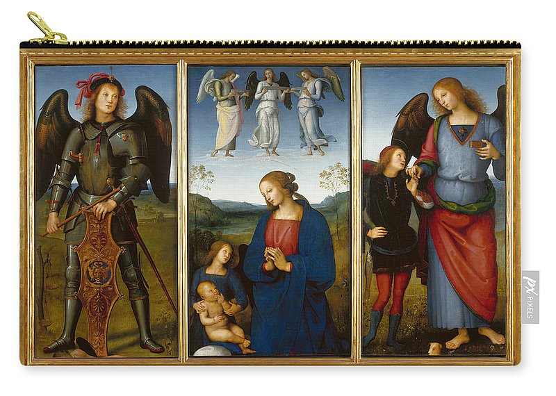 Pietro Perugino Carry-all Pouch featuring the painting Three Panels From An Altarpiece Certosa by Pietro Perugino