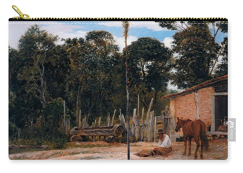 19th Century Art Carry-all Pouch featuring the painting Tightening The Saddle by Almeida Junior