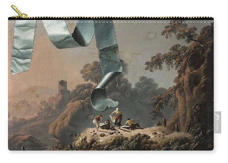 Attribu Jean Pillement Carry-all Pouch featuring the painting Trompe L Oeil Au Ruban Turquoise Devant Un Paysage De La Campagne Portuguaise by Attribu Jean Pillement