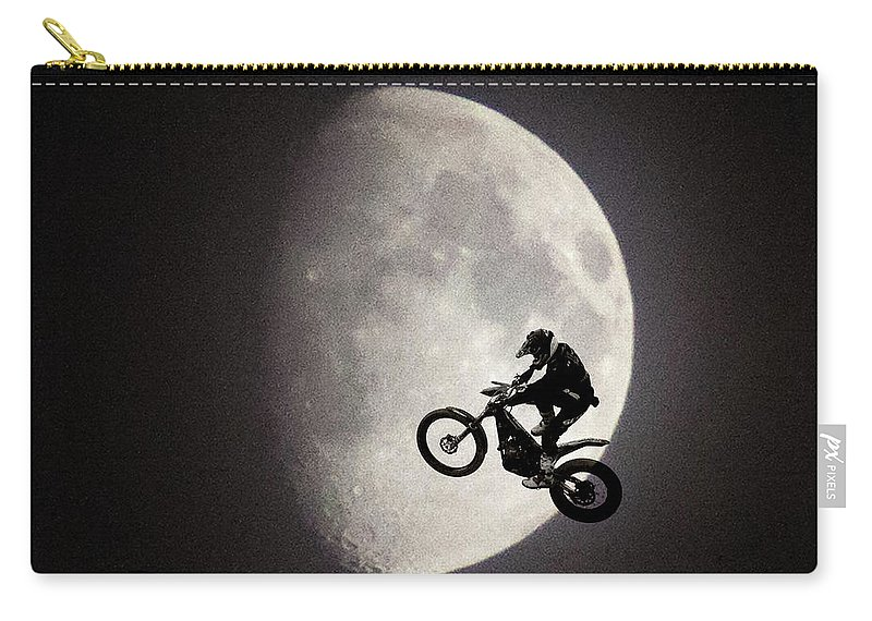 Motorbike Carry-all Pouch featuring the photograph Un Saut Trop Loin by Kris Woo