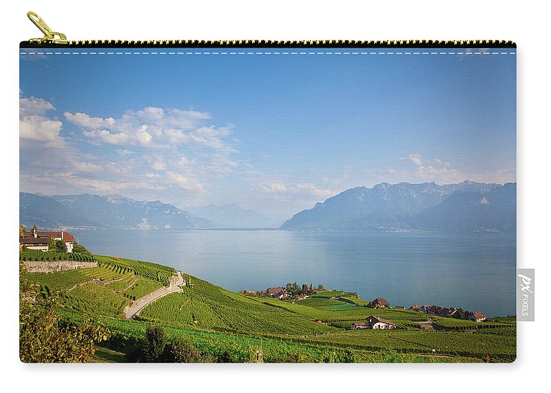 Alcohol Carry-all Pouch featuring the photograph Vineyards Around Lake Leman by Onfokus