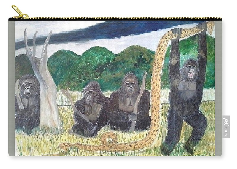 Gorillas Carry-all Pouch featuring the painting warriors of Bwindi Impenetrable by Emmanuel Nwogbo
