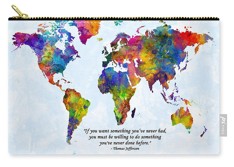 World Map Carry-all Pouch featuring the digital art Watercolor World Map Custom Text Added by Michael Tompsett