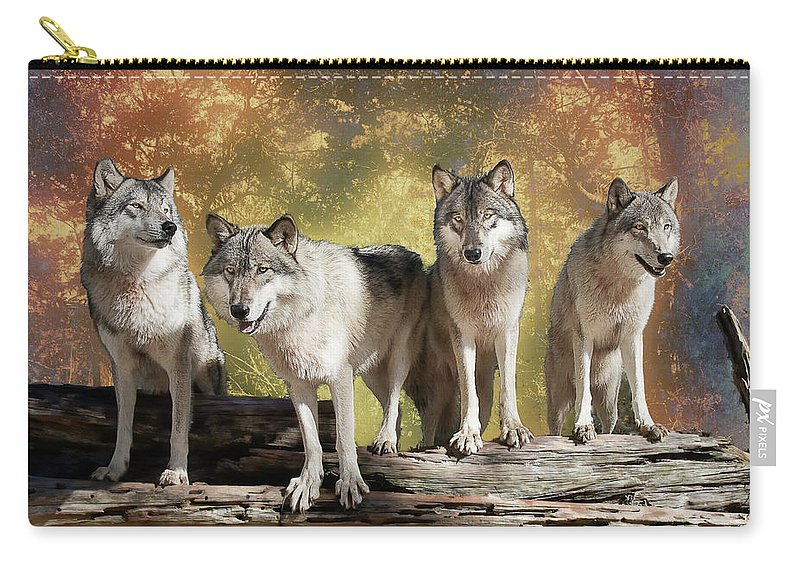Wolf Carry-all Pouch featuring the photograph Wolf Pack by Jeannee Gannuch