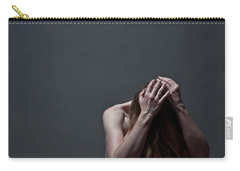 People Carry-all Pouch featuring the photograph Woman Crouched On Floor by Claudia Burlotti