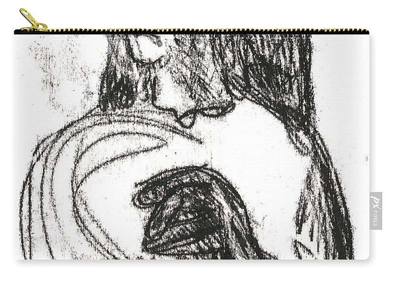 Hat Carry-all Pouch featuring the drawing Woman Holding A Hat by Artist Dot