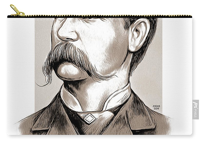 Wyatt Earp Carry-all Pouch featuring the mixed media Wyatt Earp by Greg Joens