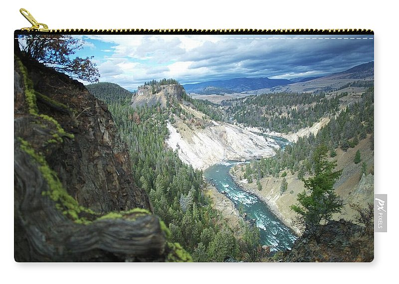 Scenics Carry-all Pouch featuring the photograph Yellowstone River by Dominik Eckelt