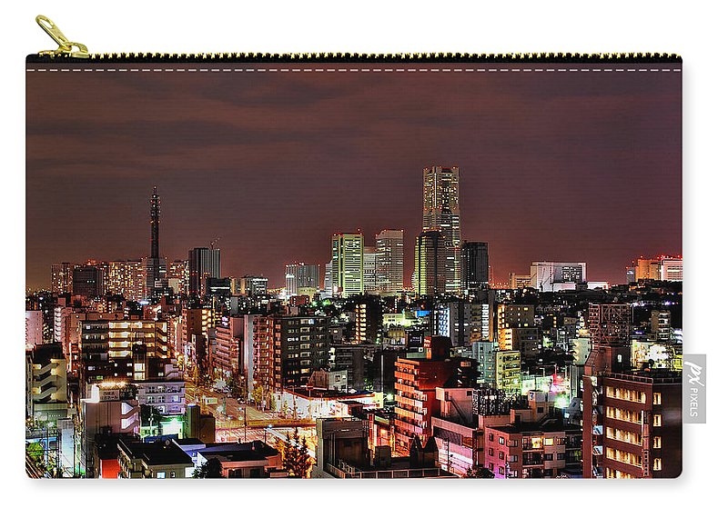 Tranquility Carry-all Pouch featuring the photograph Yokohama Nightscape by Copyright Artem Vorobiev