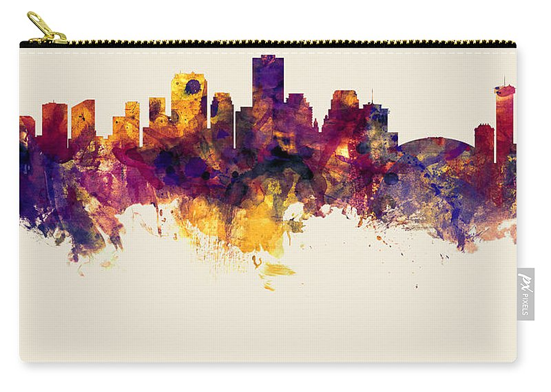 New Orleans Carry-all Pouch featuring the digital art New Orleans Louisiana Skyline by Michael Tompsett