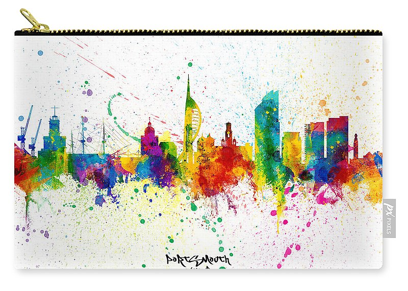 Portsmouth Carry-all Pouch featuring the digital art Portsmouth England Skyline by Michael Tompsett