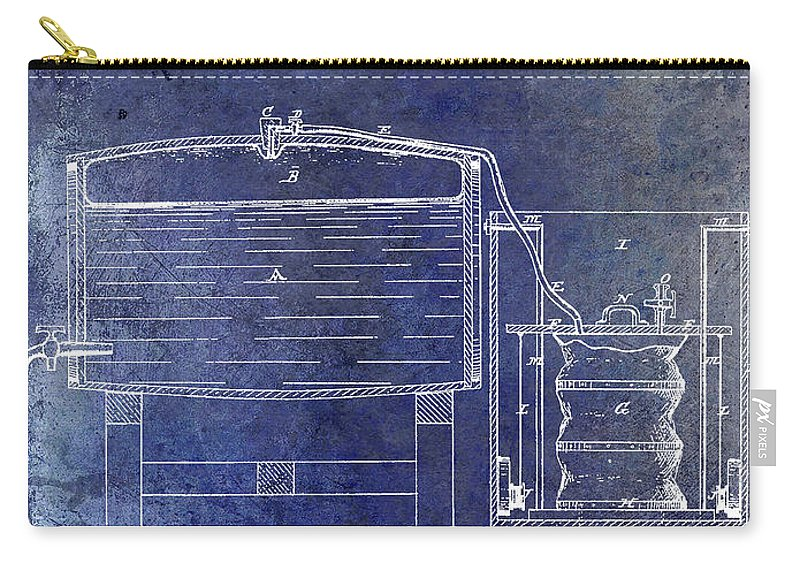 Beer Carry-all Pouch featuring the photograph 1870 Beer Preserving Patent Blue by Jon Neidert