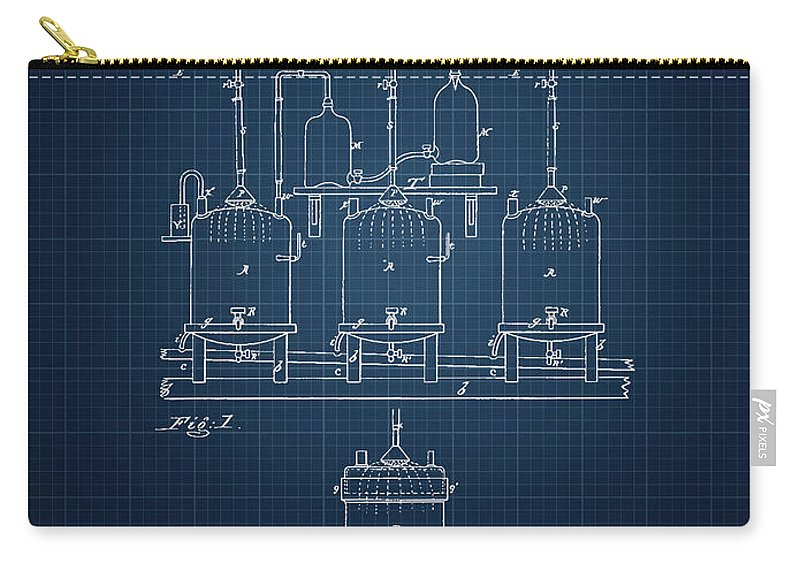 Brewing Beer Carry-all Pouch featuring the digital art 1873 Brewing Beer Apparatus - Dark Blue Blueprint by Aged Pixel