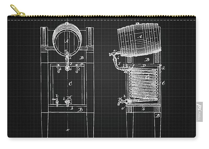 Brewing Beer Carry-all Pouch featuring the digital art 1876 Brewing Cooler - Black Blueprint by Aged Pixel