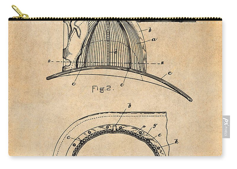 1889 Hopkins Fireman's Hat Patent Print Carry-all Pouch featuring the drawing 1889 Hopkins Fireman's Hat Antique Paper Patent Print by Greg Edwards