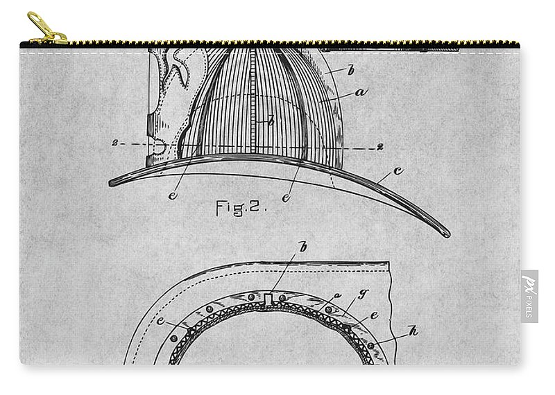 1889 Hopkins Fireman's Hat Patent Print Carry-all Pouch featuring the drawing 1889 Hopkins Fireman's Hat Gray Patent Print by Greg Edwards