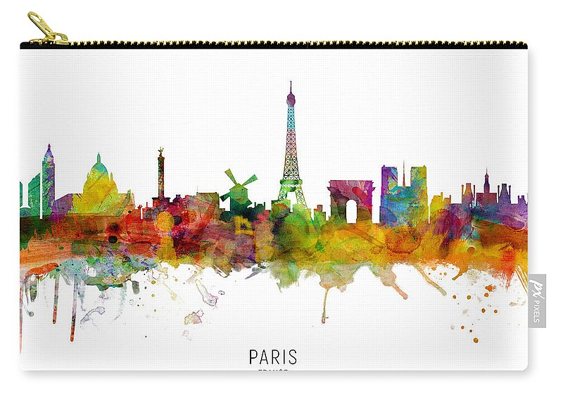 Paris Carry-all Pouch featuring the digital art Paris France Skyline by Michael Tompsett