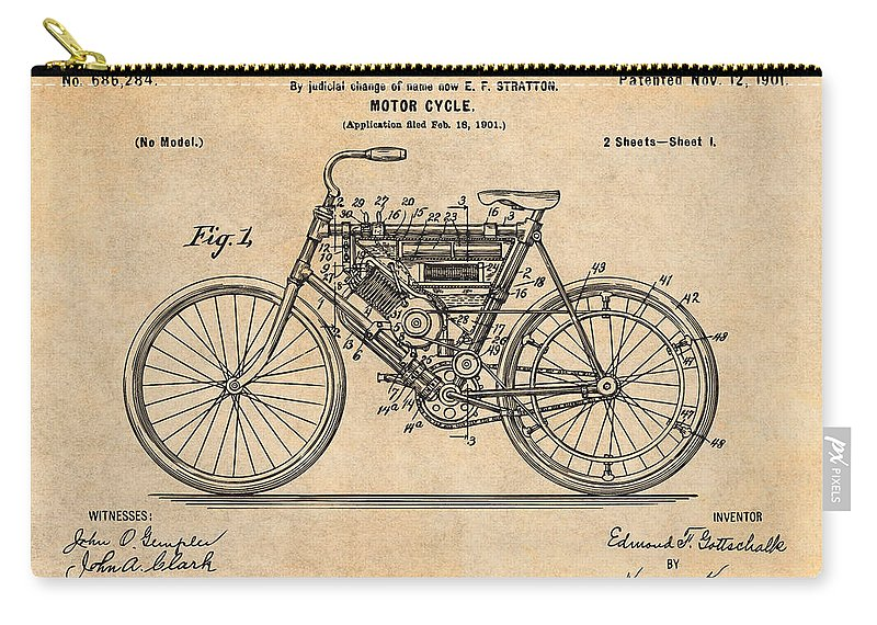1901 Stratton Motorcycle Patent Print Carry-all Pouch featuring the drawing 1901 Stratton Motorcycle Antique Paper Patent Print by Greg Edwards