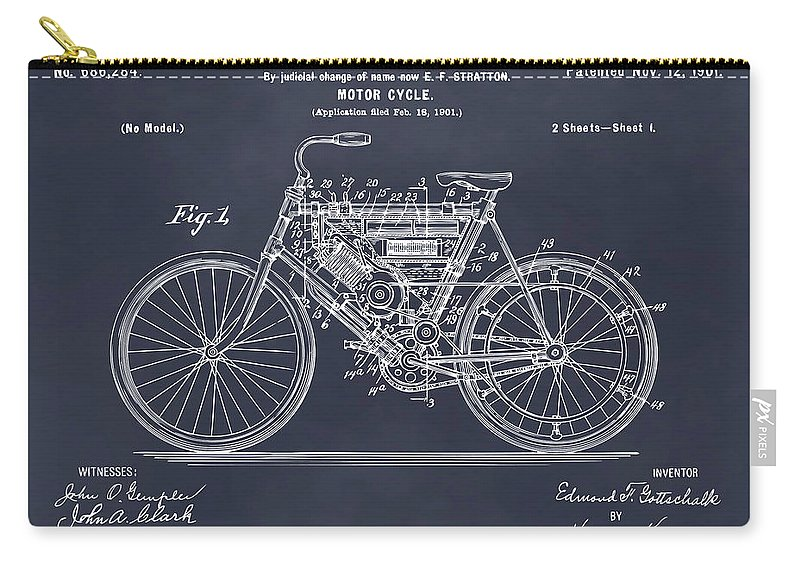 1901 Stratton Motorcycle Patent Print Carry-all Pouch featuring the photograph 1901 Stratton Motorcycle Blackboard Patent Print by Greg Edwards