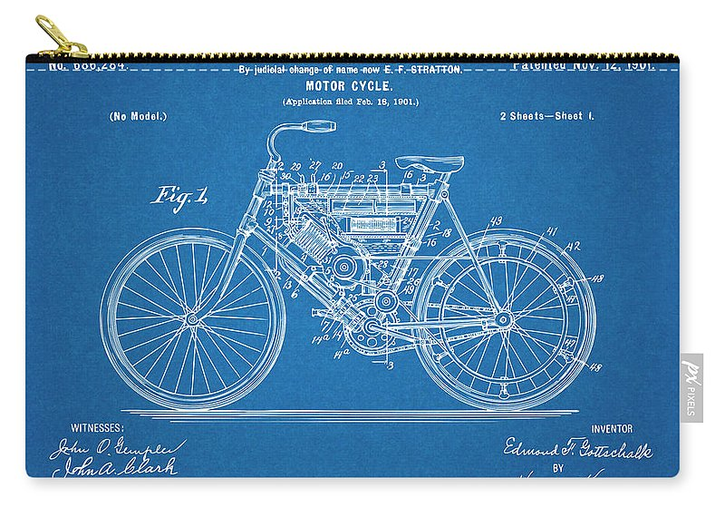 1901 Stratton Motorcycle Patent Print Carry-all Pouch featuring the glass art 1901 Stratton Motorcycle Blueprint Patent Print by Greg Edwards
