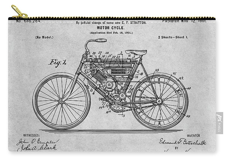1901 Stratton Motorcycle Patent Print Carry-all Pouch featuring the drawing 1901 Stratton Motorcycle Gray Patent Print by Greg Edwards