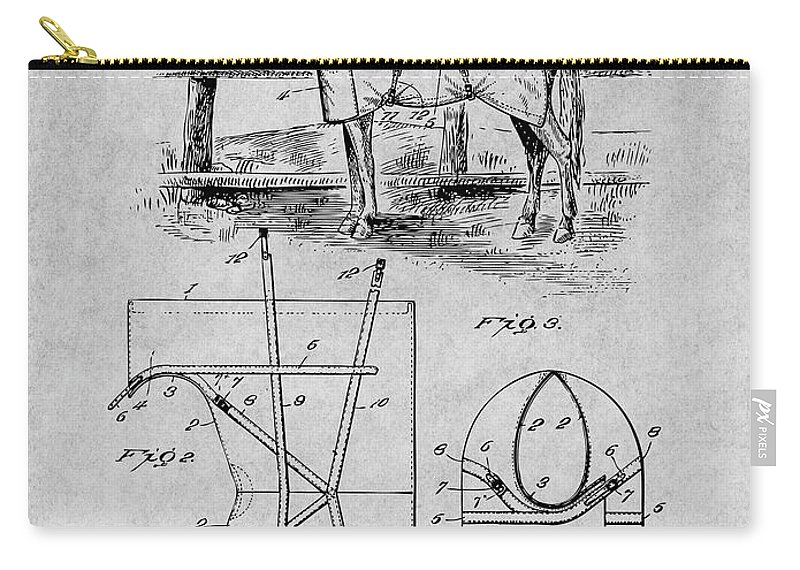 Art & Collectibles Carry-all Pouch featuring the drawing 1905 Horse Blanket Patent Print Gray by Greg Edwards
