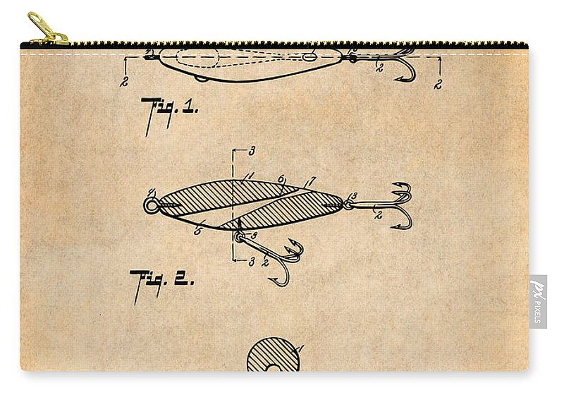 1909 Lockhart Antique Fishing Lure Patent Print Carry-all Pouch featuring the drawing 1909 Lockhart Antique Fishing Lure Antique Paper Patent Print by Greg Edwards