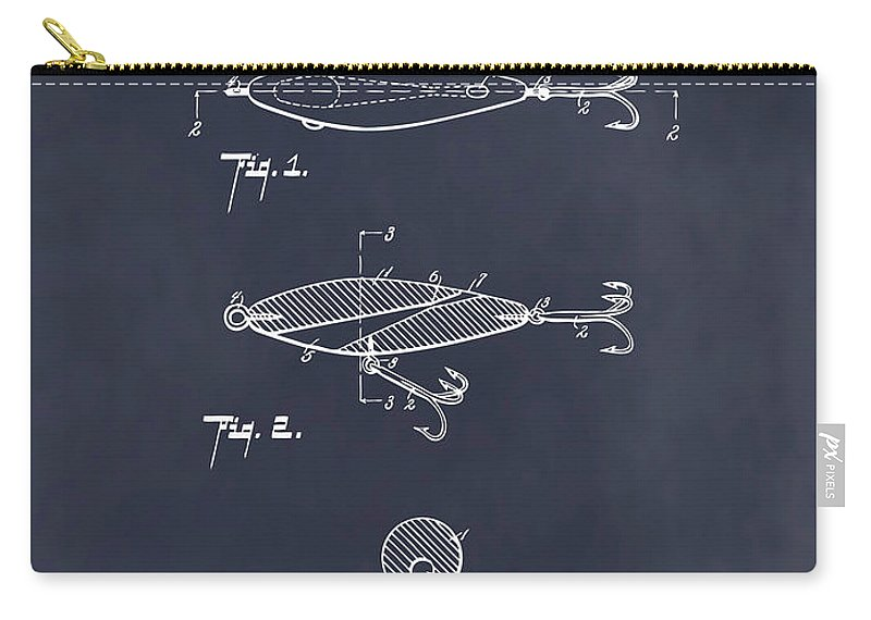 1909 Lockhart Antique Fishing Lure Patent Print Carry-all Pouch featuring the drawing 1909 Lockhart Antique Fishing Lure Blackboard Patent Print by Greg Edwards