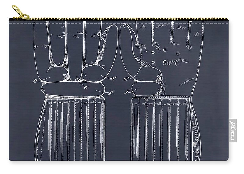 1914 Hockey Gloves Patent Print Carry-all Pouch featuring the drawing 1914 Hockey Gloves Blackboard Patent Print by Greg Edwards