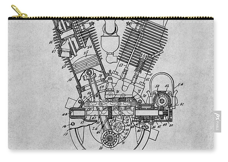 1914 Spacke V Twin Motorcycle Engine Patent Print Carry-all Pouch featuring the drawing 1914 Spacke V Twin Motorcycle Engine Gray Patent Print by Greg Edwards