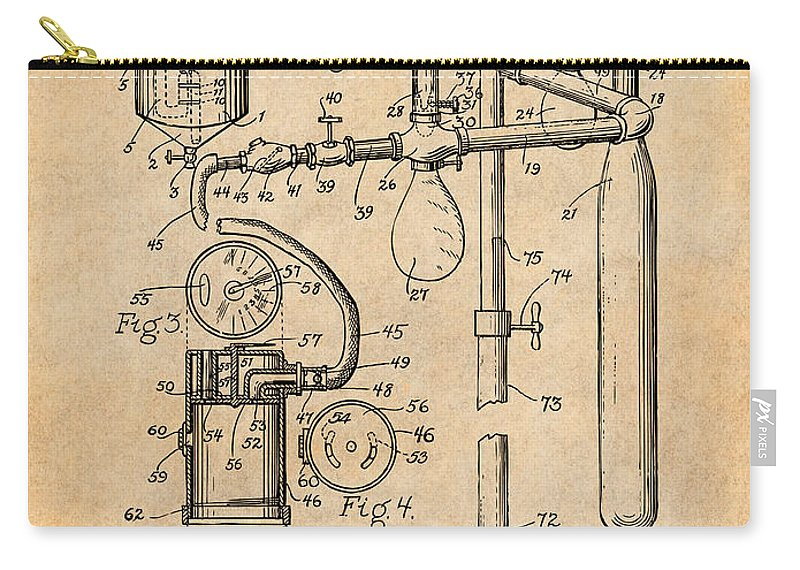 1919 Anesthetic Machine Patent Print Carry-all Pouch featuring the drawing 1919 Anesthetic Machine Antique Paper Patent Print by Greg Edwards