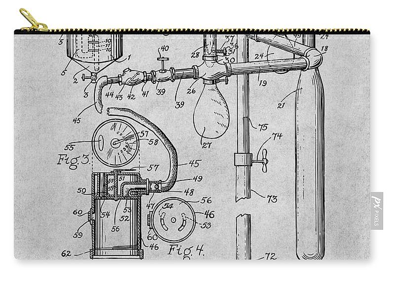 1919 Anesthetic Machine Patent Print Carry-all Pouch featuring the drawing 1919 Anesthetic Machine Gray Patent Print by Greg Edwards