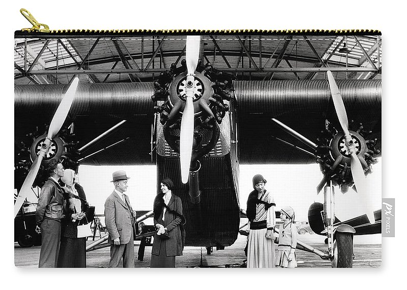 Photography Carry-all Pouch featuring the photograph 1920s 1930s Group Of Passengers Waiting by Panoramic Images
