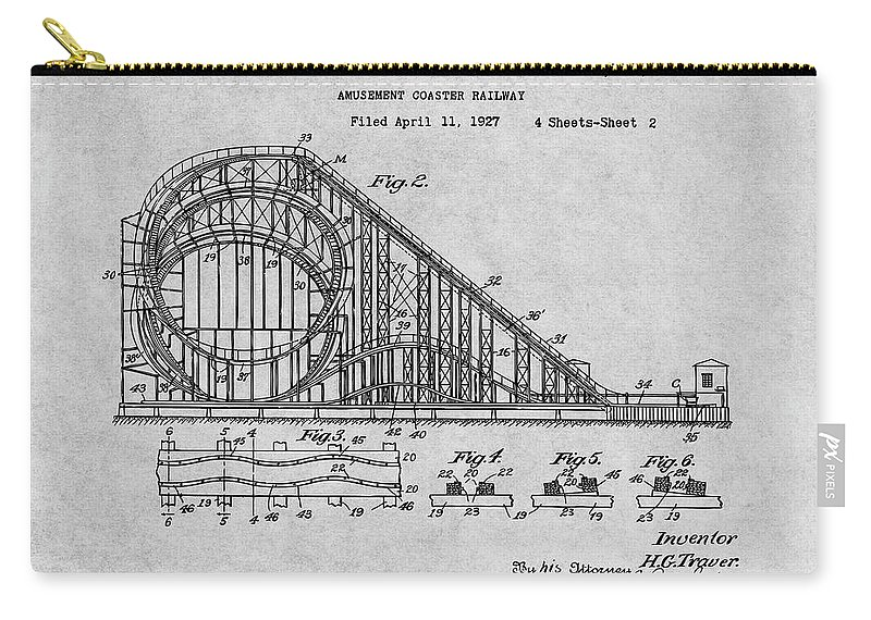 1927 Roller Coaster Patent Print Carry-all Pouch featuring the drawing 1927 Roller Coaster Gray Patent Print by Greg Edwards