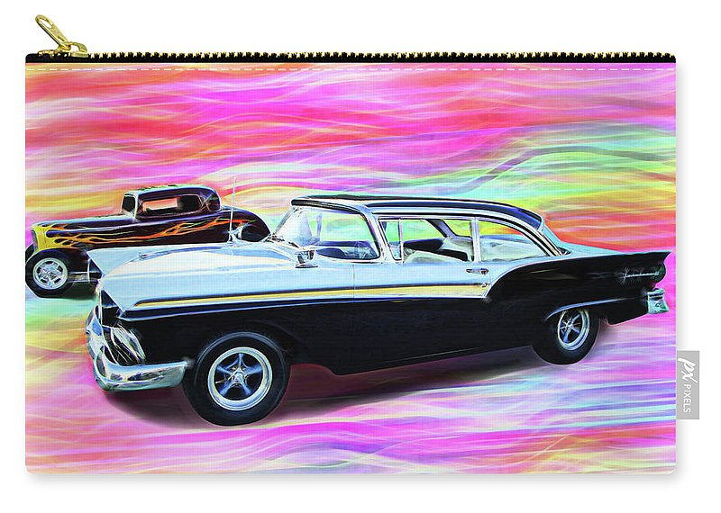 1932 Ford Carry-all Pouch featuring the digital art 1932 And 1957 Fords by Rick Wicker