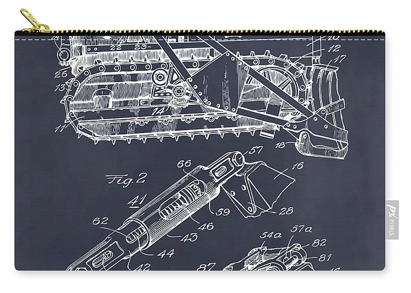 1932 Earth Moving Bulldozer Patent Print Carry-all Pouch featuring the drawing 1932 Earth Moving Bulldozer Blackboard Patent Print by Greg Edwards