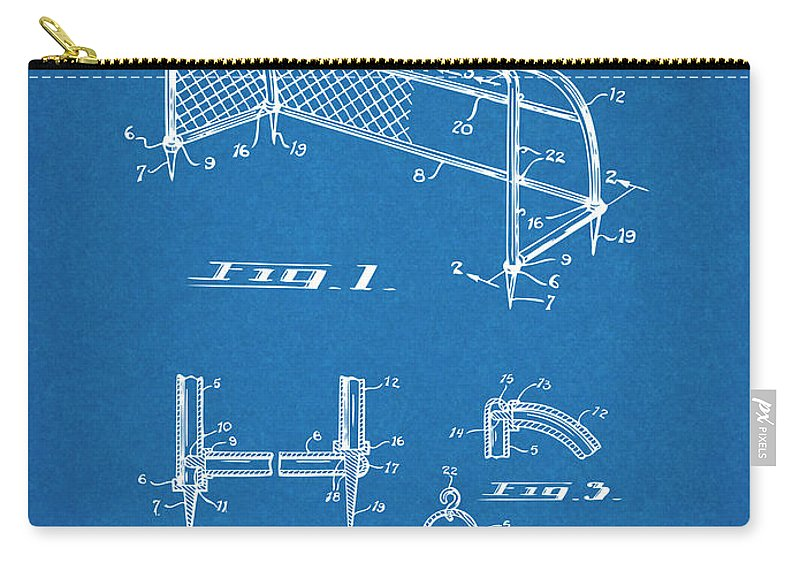 1933 Soccer Goal Patent Print Carry-all Pouch featuring the drawing 1933 Soccer Goal Blueprint Patent Print by Greg Edwards