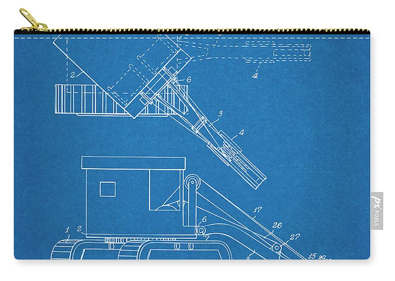 1937 Backhoe Excavator Patent Print Carry-all Pouch featuring the drawing 1937 Backhoe Excavator Blueprint Patent Print by Greg Edwards