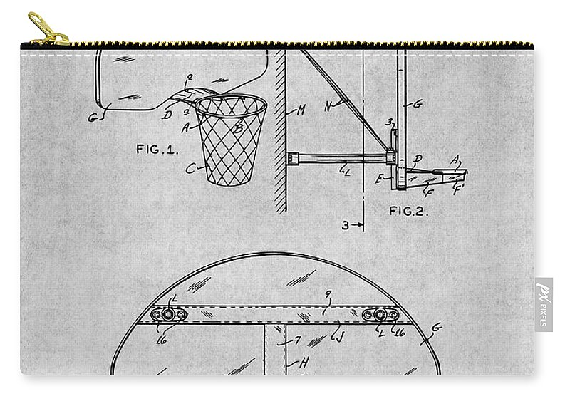 1944 Basketball Goal Patent Print Carry-all Pouch featuring the drawing 1944 Basketball Goal Gray Patent Print by Greg Edwards