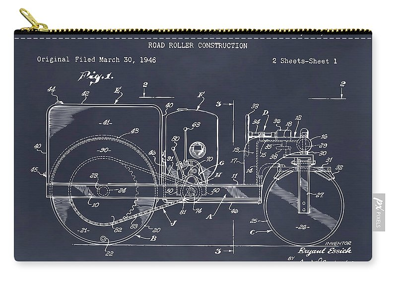 1946 Road Roller Patent Print Carry-all Pouch featuring the drawing 1946 Road Roller Blackboar Patent Print by Greg Edwards